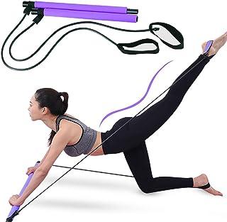 Lintelek Portable Pilates Bar Kit with Resistance Band,Yoga Pilates Stick Muscle Toning Bar, Home Gym Pilates Yoga Exercis...