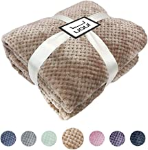 U UQUI Luxury Flannel Fleece Throw Twin Size Blanket Super Soft Reversible Throw Warm Lightweight Blanket Waffle Textured-Resistant and Breathable All Season Use(Taupe,59