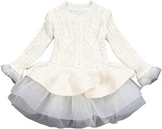 Baby Girl Knitted Crochet Sweater Dress Princess Long Sleeve Cotton Skirt