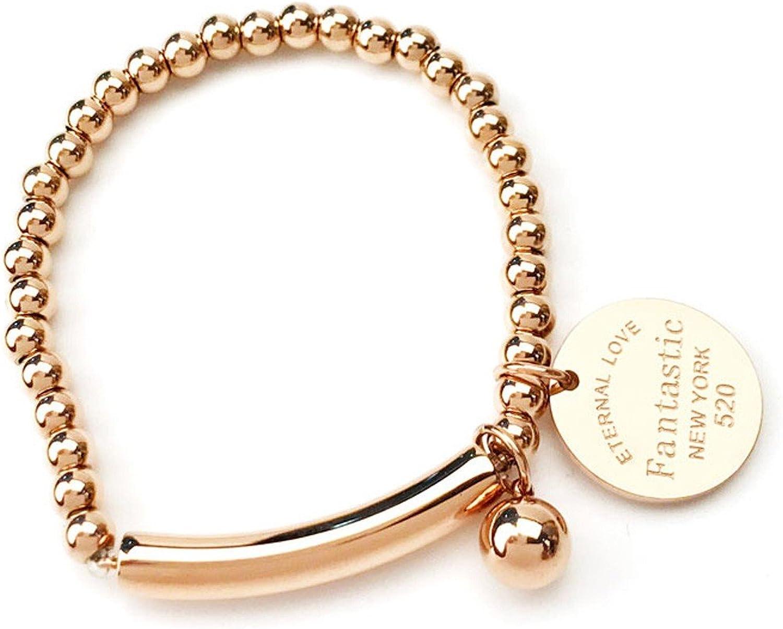 GTVERNH Gift Ladies' Bracelet Fashion Girl Simple Personality Jog Titanium Steel Bracelet
