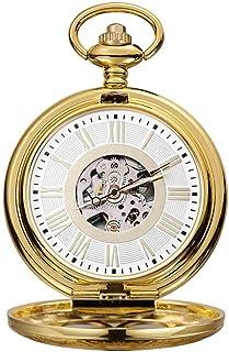 Lwieui Reloj de Bolsillo Reloj de Bolsillo mecánico de Concha Romana Tallada Romana maquinaria clásica Dorada (Color : Gol...