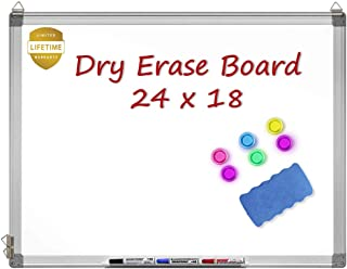 Magnetic Whiteboard, 24 X 18 Inches Magnetic Dry Erase Board with 1 Dry Eraser, 3 Dry..