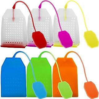 Juego de 6 infusores de té de silicona, reutilizables, seguros, bolsas de té sueltas, filtro con cuerda larga, 6 colores