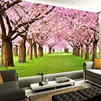 Djskhf カスタム3D写真の壁紙ピンクフラワーツリー緑の草壁絵画リビングルームソファテレビ背景壁画壁紙ロール 200X140Cm
