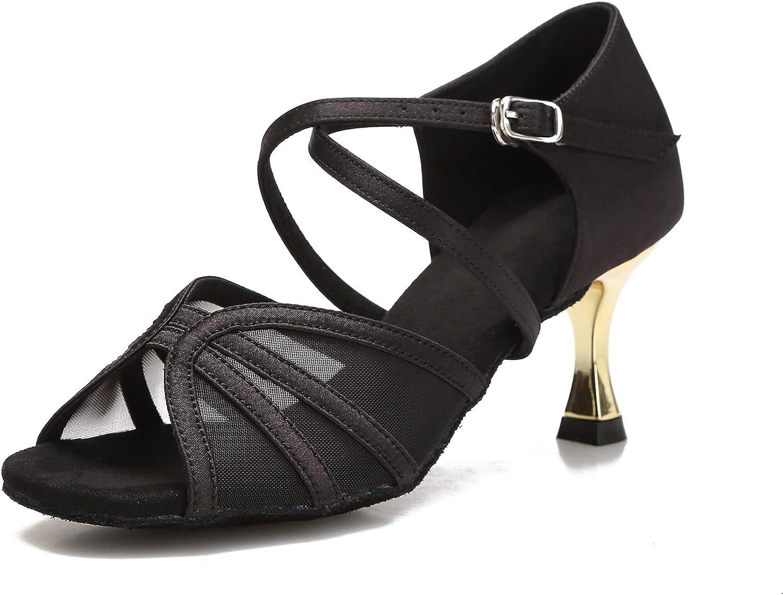 YYTing Womens Ballroom Dance Shoes Latin Salsa Practice ClassicSandals with Mirror Heel