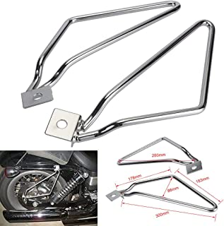 Motorcycle Saddlebags Saddle Bags Brackets Support for Harley Davidson Sportster 883 Iron XL883N Dyna FXDF Softail V-ROD Cafer Bobber Chopper Touring Honda Suzuki Yamaha Kawasaki BMW (Chrome)