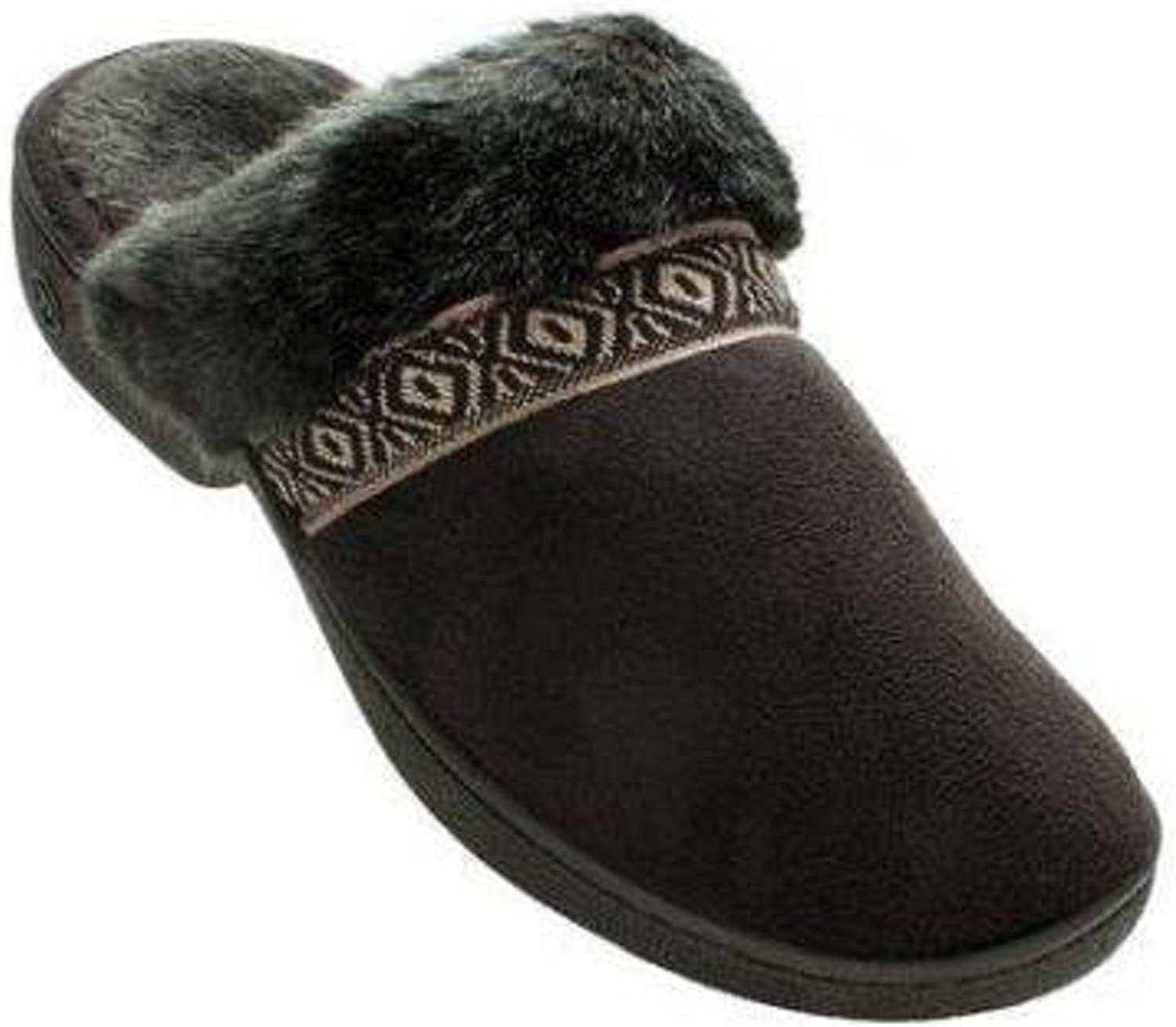 Isotoner Micro-Suede Woodlands Amelia Faux-Fur Clog Slippers (Large 8.5-9 M, Black)