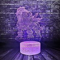 3DイリュージョンランプLEDナイトライトポケモンGOアクションフィギュアピカチュウイーブイタートルバードファイアドラゴンポケボールボールキッズルミナリーホリデーギフト