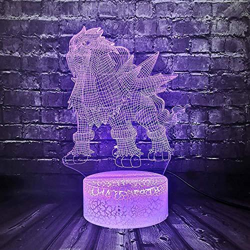 YOUPING 3D-Illusionslampe führte Nachtlicht Pokemon Go Actionfigur Pikachu Eevee Schildkröte Vogel Feuer Drache Pokeball Ball Kinder Luminary Holiday Gift