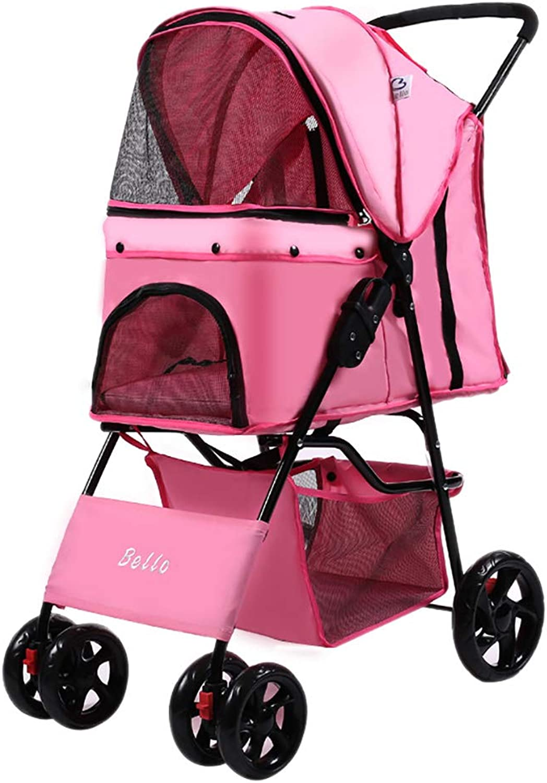 Pet trolley NAUY, Lightweight Folding Pet Stroller Dog Cat Teddy Cart Cage Fourwheel Outdoor Travel Supplies (color   PINK)