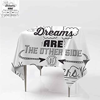 carmaxshome Cloth Tablecloths, Optimistic Winner Slogan Modern Dining Table Cover Spill Proof, Printed Table Cloth for Square Tables, 60 x 60 Inch