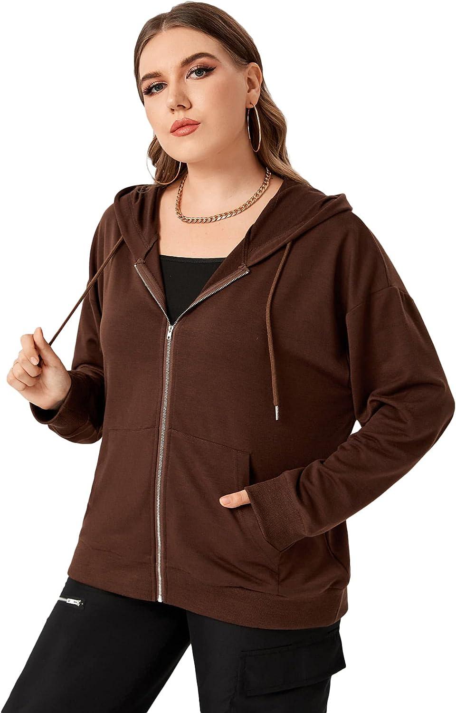 SheIn Women's Plus Zip Up Hoodie Sweatshirt Long Sleeve Drawstring Top with Kangaroo Pocket