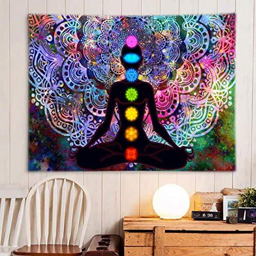 AUTUUCKEE Bohemia Mandala Yoga Meditación Colgante Pared Estudio Decoración Regalo Espiritual Arte Hogar Dormitorio Decoración Sala Divisor Puerta Cortina Balcón Transparente