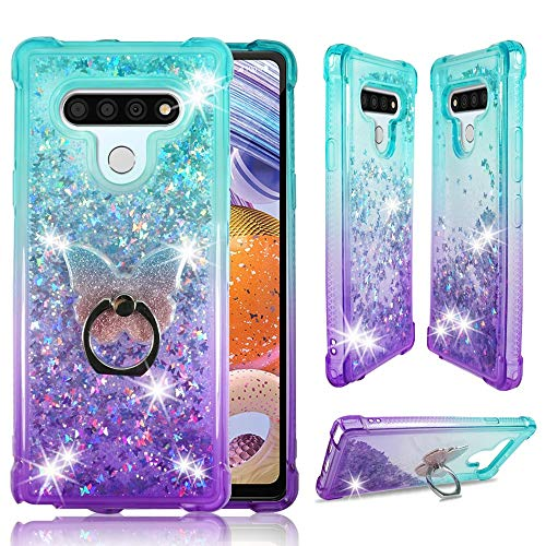 ZASE Design Case for LG Stylo 6, LG K71 Stylus Liquid Glitter Bling Cute Protective Cover 3D Waterfall Floating Butterflies Quicksand Shockproof Bumper w/Phone Ring Holder (Gradient Aqua Purple)