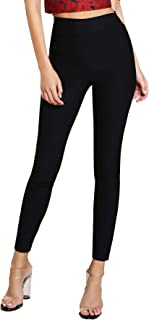 d49904092c SheIn Women's Basic Slim Fit Elasic Trousers Solid Pull-On Skinny Pants