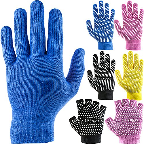 C.P. Sports Reithandschuhe hochwertig gestrickte Cross-Training Handschuh, Indoor und Outdoor Einheitsgröße mit Noppen (Blau-lang)