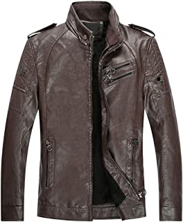 Men's Autumn Winter Tops Vintage Zipper Stand Collar Imitation Leather Coat