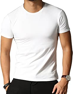 [ミックスリミテッド] Tシャツ メンズ タイト Uネック Vネック 無地 半袖 クルーネック スリム 夏 夏物