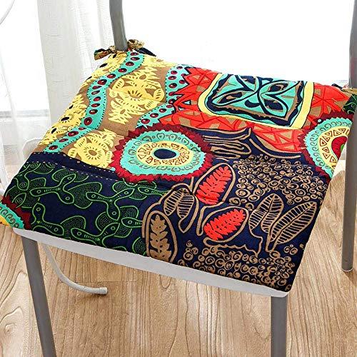 Chair Cushion Sitzkissen Bürostuhl,böhmischen Leinen Exotische Weiches Sitzkissen Mit Krawatten Für Essstuhl Kaffee Bistro Bar Stuhl Kissen -d 45x45cm(18x18inch) D 45x45cm(18x18inch)