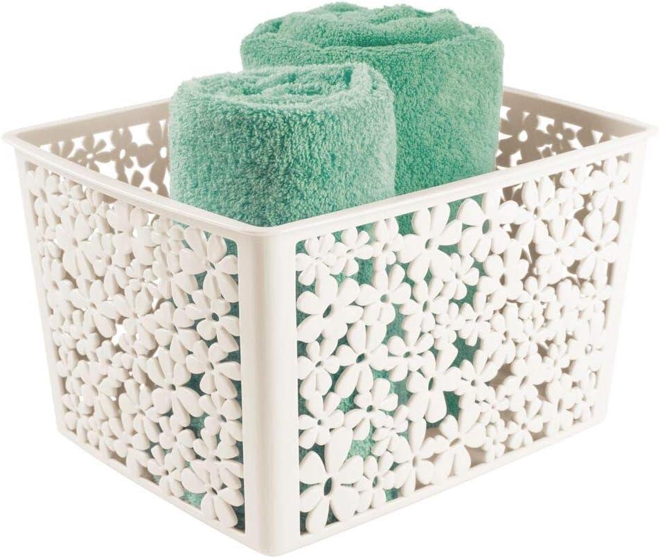 mDesign praktischer Aufbewahrungsbeh/älter hellblau verspielte Aufbewahrungsbox f/ürs Badezimmer Ablagebox aus Kunststoff mit Blumenmuster
