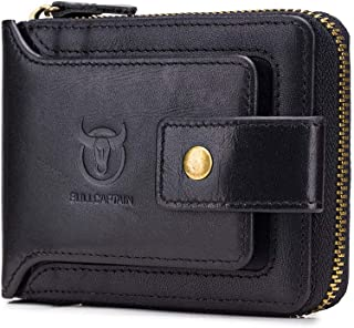 RFID Bifold Mens Cowhide Leather Zip Around Wallet Vintage Travel Multi Card Holder Purse