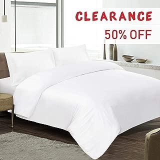 EMME 100% Bamboo Duvet Cover Set - Hypoallergenic, Breathable and Wrinkle Resistant Comforter Cover - 3 Piece Set (1 Duvet Cover, 2 Pillow Shams) (White, Full/Queen)