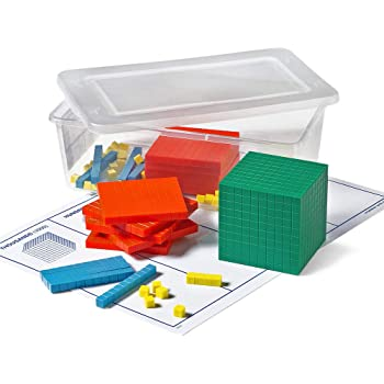 hand2mind 66757 Plastic Differentiated Base Ten Blocks, Math Manipulative Kit (Set of 121)