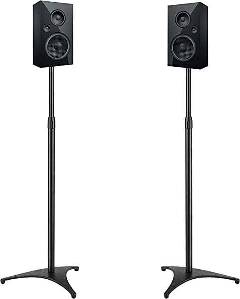 PERLESMITH Adjustable Height Speaker Stands Extends 30 45 Inch Hold Satellite Small Bookshelf Speakers Weight Up To 8lbs Heavy Duty Floor Stands For Surround Sound 1 Pair Model PSSS1