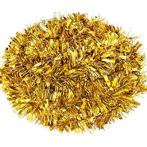 32,8 Fuß Weihnachten Lametta Girlande Metallisch Lametta Girlande Glänzend Hängende Dekoration für Weihnachtsbaum Kranz Hochzeit Party Lieferung (Gold)
