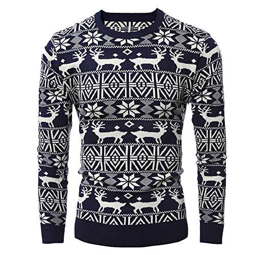 Fabal Mens' Autumn Winter Cardigan Tops Christmas Print Fawn Knit Sweater Xmas Long Sleeve Blouse