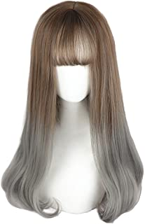 Long Grey Ombre Wigs Bangs - Straight Lolita Wig 2 Tone Synthetic Hair For Women Cosplay, Daily and Party