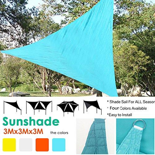 Cheerfulus Sonnensegel Dreieckig,Sonnenschutz Garten Balkon - Schattenspender Wetterschutz UV-Schutz Atmungsaktiv HDPE,3 * 3 * 3 m,in 4 Farben