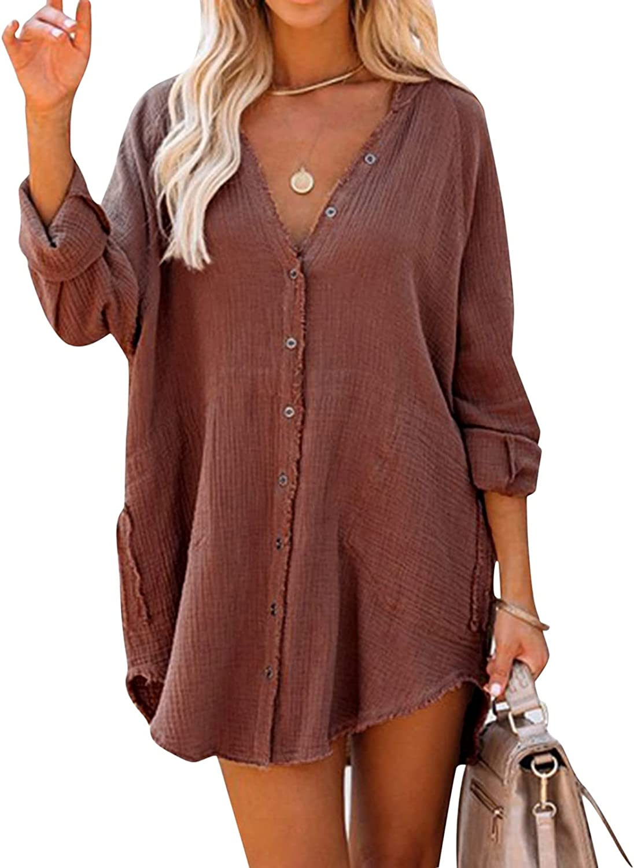 Blouse Dress Women V Neck Autumn Long Sleeve Mini Dress Loose Ca