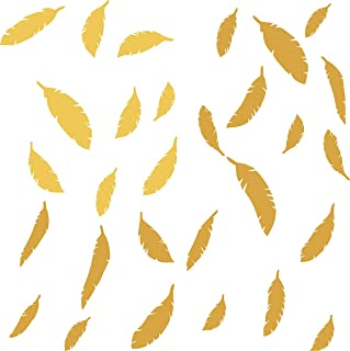 Easma Feather Decals Feather in The Room Feather Stickers Feather Wall Decals Nursery Wall Decal Home Decor Peel&Stick Removable Wall Stickers-48pcs Matte Gold