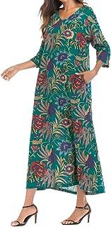 Morecome,Women 3/4 Sleeve Thin Cotton Bright Loose Long Bohe Pockets Dress Floral Kaftan