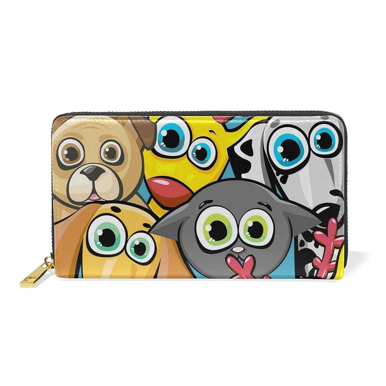 洗練嬉しいです放映マキク(MAKIKU) 長財布 レディース 本革 大容量 ラウンドファスナー カード12枚収納 プレゼント対応 猫柄 犬柄 動物テーマ