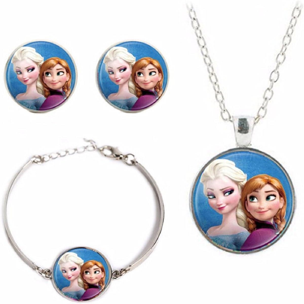 Disney's Princesses Glass Domed Pendant Necklace, Earring, Braclet Jewelry Set (Elsa & Anna)