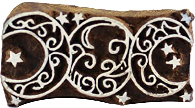 Celtic Triple Moon Wooden Textile Stamps Indian Printing Henna Pottery Clay Project Craft Block Stamps