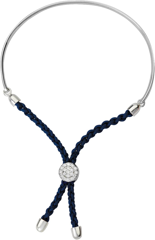 Elegant TONYS JEWELRY CO. Silver Bracelet Max 85% OFF 1 Mac Blue Dark 2 Braided Bar