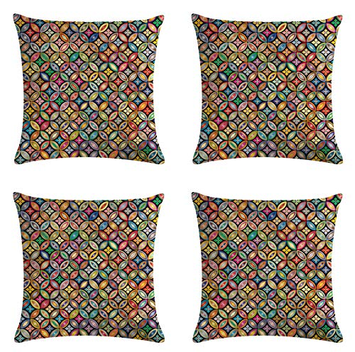 JZZCIDGa Bunte Geometrische Muster Leinen Kissenbezug Dekoration, Zuhause Sofa Drehbank Kissenbezug Kissenbezug 4 Stück Kissenbezug, 45X45Cm