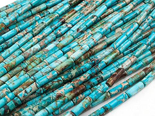 Green Forest Gems, DIY, Imperial Jaspe, Azul Turquesa, Teñido, 4x13mm, Abalorio, Cuenta,...