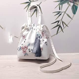 Handmade Lace Fairy Bag/Bag/Retro Purse/Handbag Fringed Shoulder Portable Messenger. jszzz (Color : White)