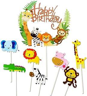 YOUYIKE 36 Stück Cupcake Toppers, Tier Cake Topper, Zoo/Dschungel Themed Kuchendeckel, Kuchendeko Tiere Enthält 1 Happy Birthday Banner, für Kinder Dusche Baby Party Geburtstag A-36