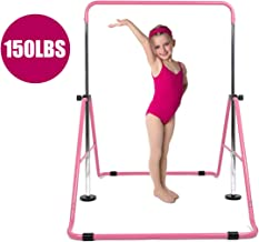 DOBESTS Gymnastics Bar for Kids Gymnastics Equipment for Home Folding Junior Training Bar Expandable Kip Bar for 3-7 Years Old Children