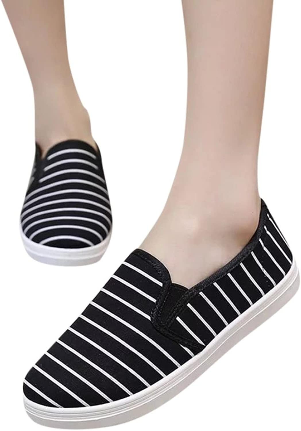 Fheaven (TM) Ladies Striped Canvas Flat Women's shoes Pointed Toe Casual shoes Loafers Bellet Flat shoes Sneakers Black