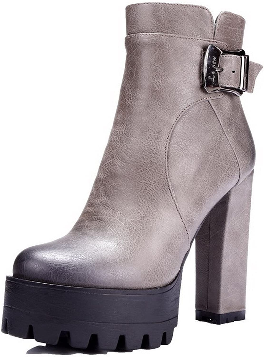 WeenFashion Women's Microfibre High-Heels Round-Toe Boots with Slipping Sole and Platform