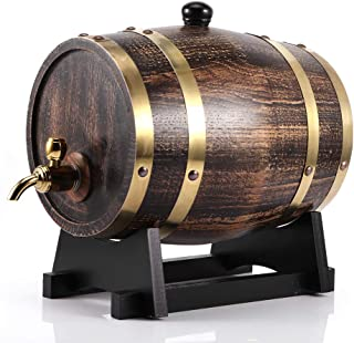 Whisky Barrel Keg Bucket Container, 3L Oak Wood Wine Barrel Brandy Barrel Wine Container avec robinet pour Whisky Beer Rum...