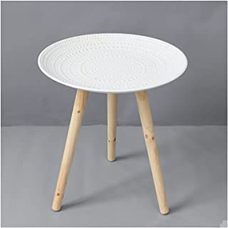 """Coffee Table طاولة جانبية مستديرة 16.92""""H × 15.74"""" D اللكنة منضدة منضدة طاولة صغيرة طاولة صينية خشبية بيضاء for Home Livin..."""