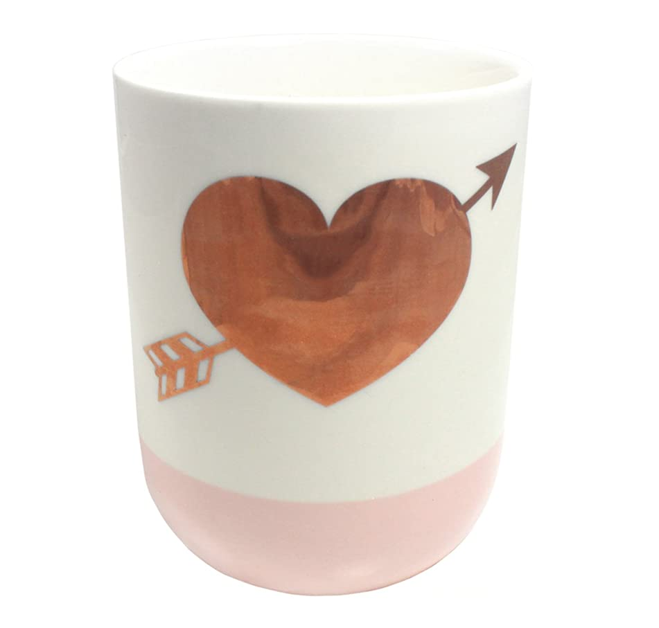ループバン洞察力のある2つの会社10.5-oz GildedハートローズScented Candle ;ホワイト&ピンク