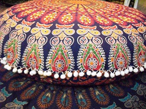 Traditionelle Jaipur rund Bodenkissen, Mandala Überwurf Kopfkissen 81,3cm dekorativer Pouf Ottomane, Indian Sitzkissen Outdoor, Cover, großer Bohemian kissenrollen mehrfarbig